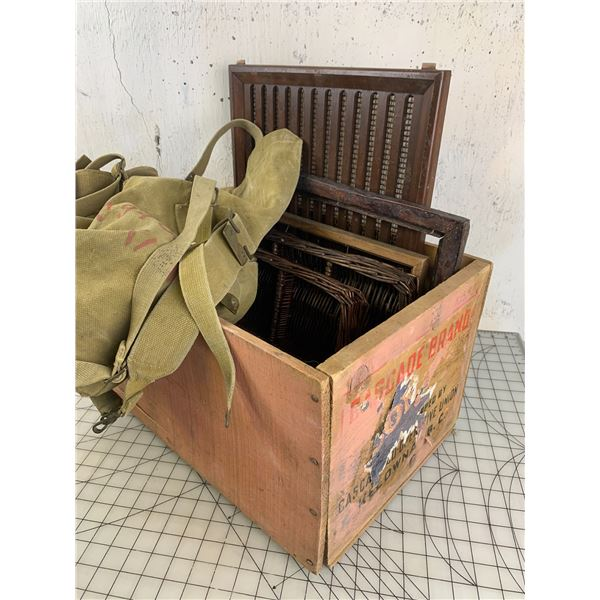 WOODEN CRATE WITH MILITARY BAG WICKER TRAYS ETC