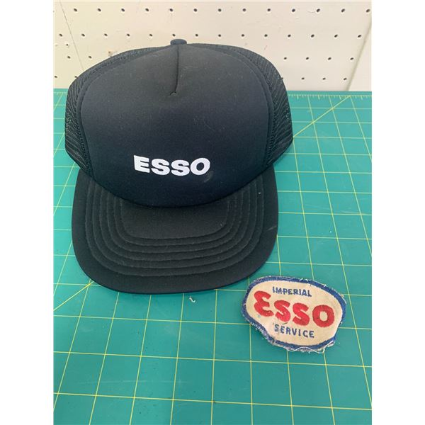 VINTAGE ESSO TRUCKER HAT AND SERVICE STATION PATCH