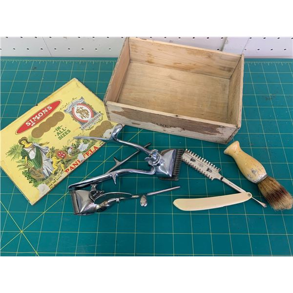 CIGAR BOX WITH SHAVING BARBER RELATED