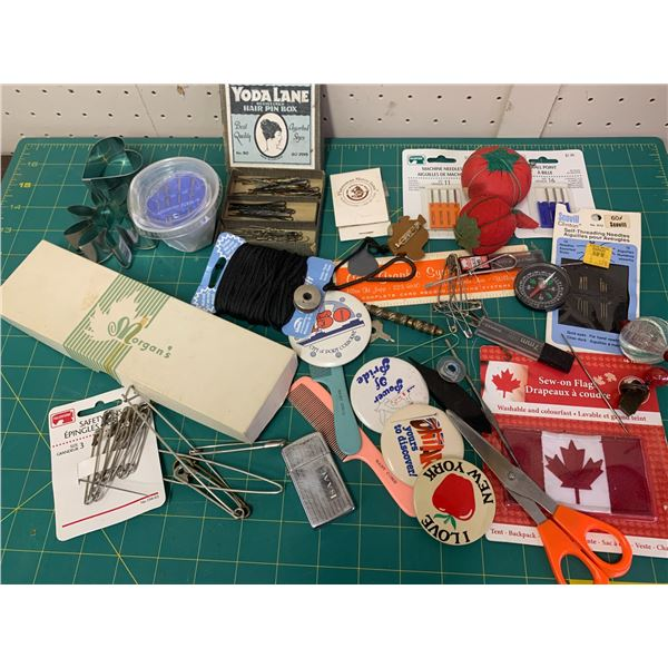 MISC LOT SEWING PINS ETC