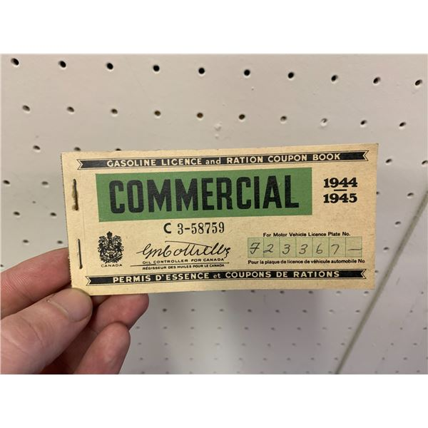 WWII COMMERCIAL GASOLINE RATION TICKET BOOK