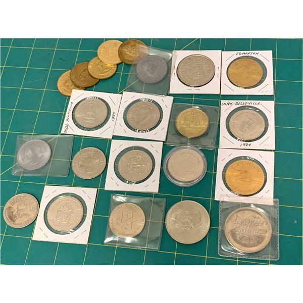 LOT OF COMMEMORATIVE AND SOUVENIR DOLLARS ETC