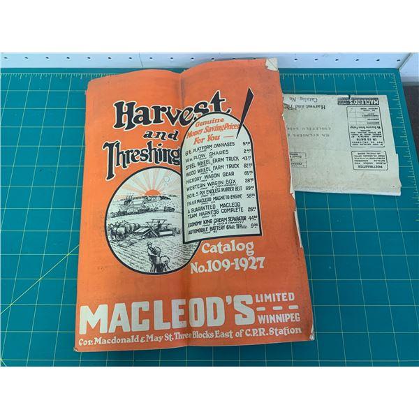 1927 MACLEODS HARVEST AND THRESHING CATALOG