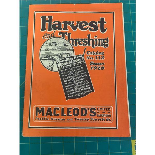 1928 MACLEODS HARVEST AND THRESHING CATALOG