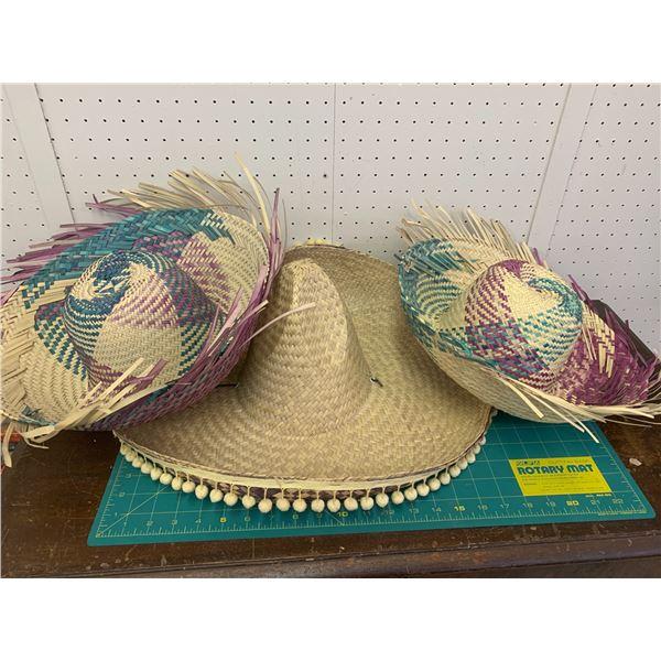 LOT OF STRAW SOMBRERO HATS