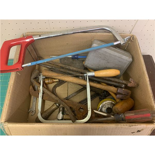 LOT OF VARIOUS TOOLS SAWS HAMMER ETC