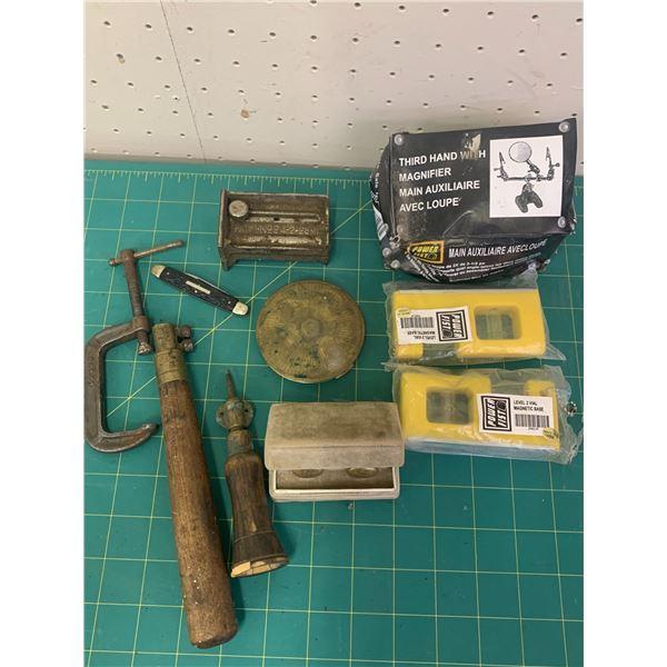 MISC LOT THIRD HAND TOOL POCKET KNIFE CUFFLINKS ETC