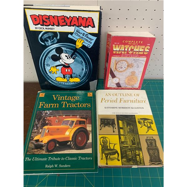 LOT OF COLLECTIBLE AND ANTIQUE REFERENCE BOOKS DISNEYANA FARM TRACTORS WATCHES ETC