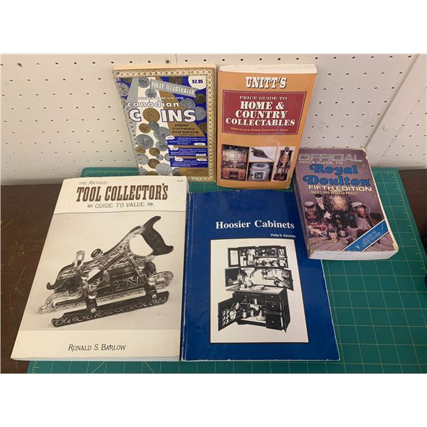 LOT OF COLLECTIBLE AND ANTIQUE REFERENCE BOOKS COINS HOOSIER ROYAL DOULTON TOOLS