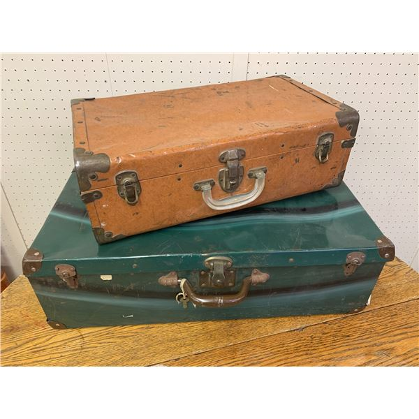 LOT OF 2 VINTAGE TIN SUITCASES