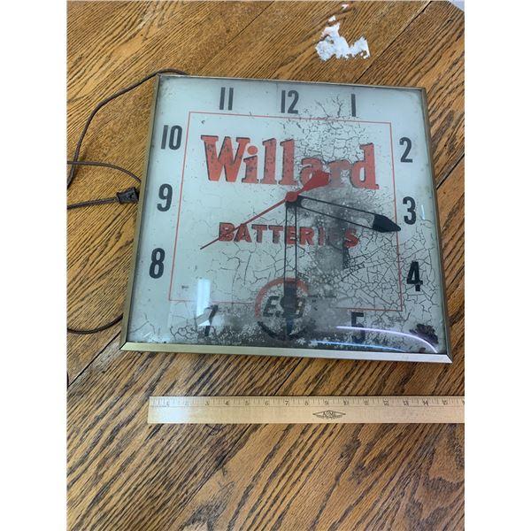 VINTAGE WILLARD BATTERIES ADVERTISING CLOCK