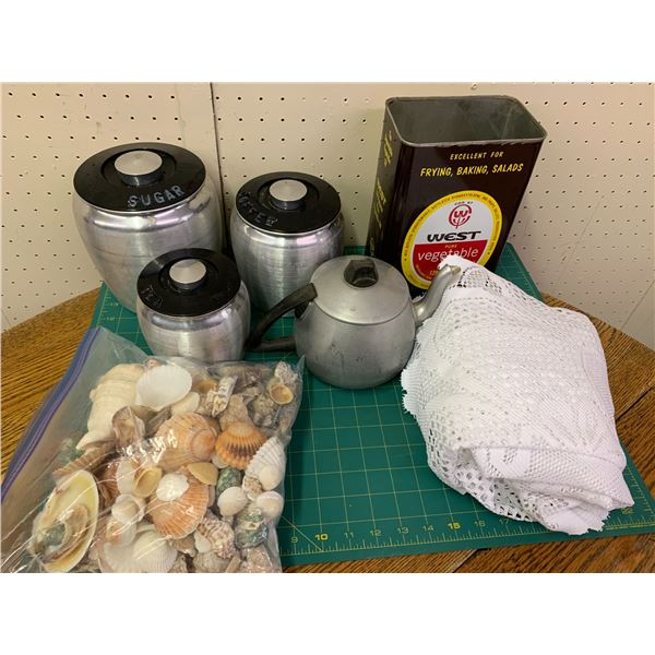 MISC LOT CANISTERS SEASHELLS ETC