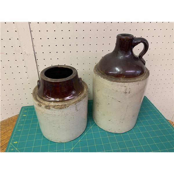 OLD CROCK JUG AND JAR