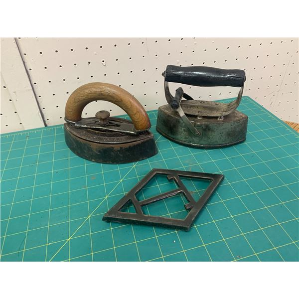 ANTIQUE SAD IRONS AND TRIVET
