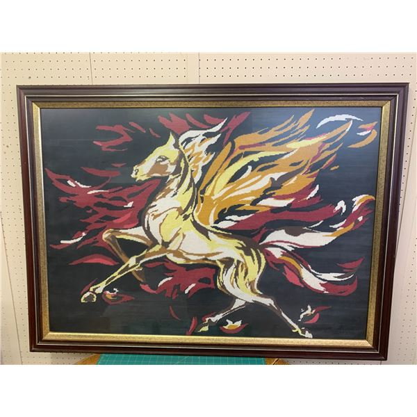 """LARGE FRAMED FLAMING HORSE CROSS STITCH PICTURE 51"""" x 37"""""""