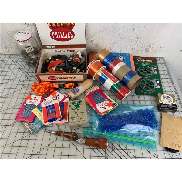LOT OF CRAFTING LEATHER RIBBON BUTTONS ETC