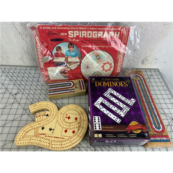 LOT OF GAME RELATED SPIROGRAPH CRIB ETC