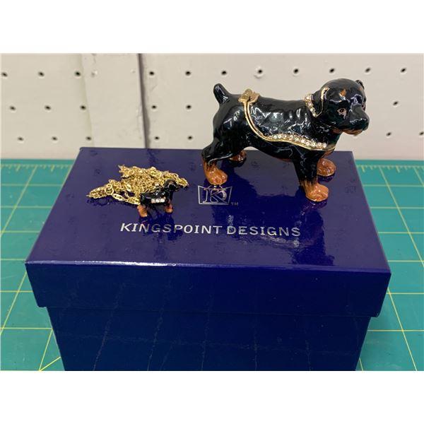 ROTTWWEILER KINGSPOINT DESIGNS ENAMEL DOG TRINKET BOX AND MATCHING PENDANT