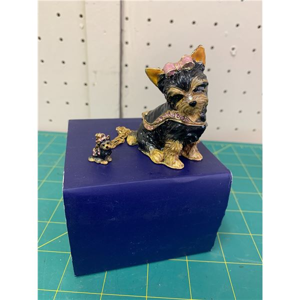 YORKIE KINGSPOINT DESIGNS ENAMEL DOG TRINKET BOX AND MATCHING PENDANT