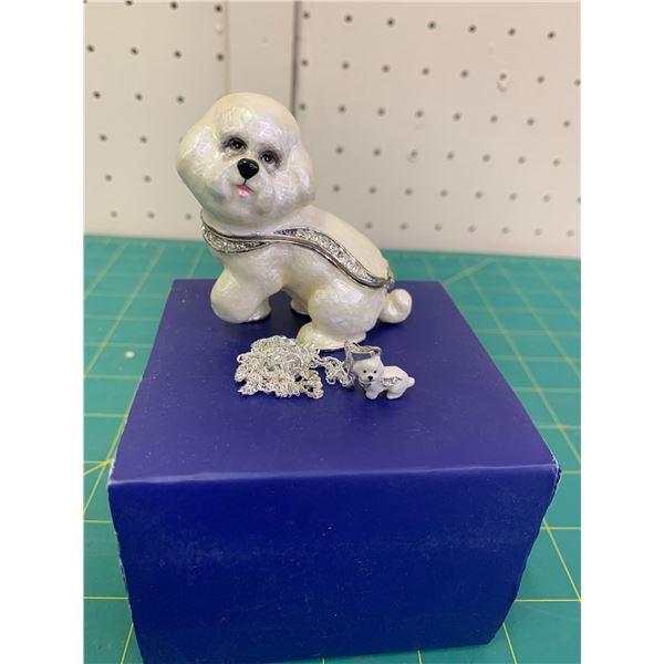 BICHON KINGSPOINT DESIGNS ENAMEL DOG TRINKET BOX AND MATCHING PENDANT