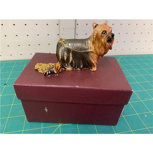 NOBILITY ENAMEL DOG TRINKET BOX AND MATCHING PENDANT