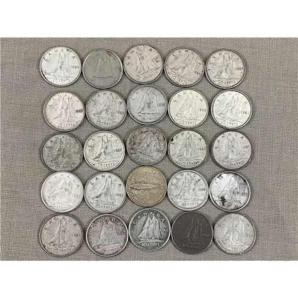 LOT OF 25 SILVER CANADIAN DIMES