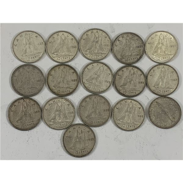 LOT OF 16 SILVER CANADIAN DIMES