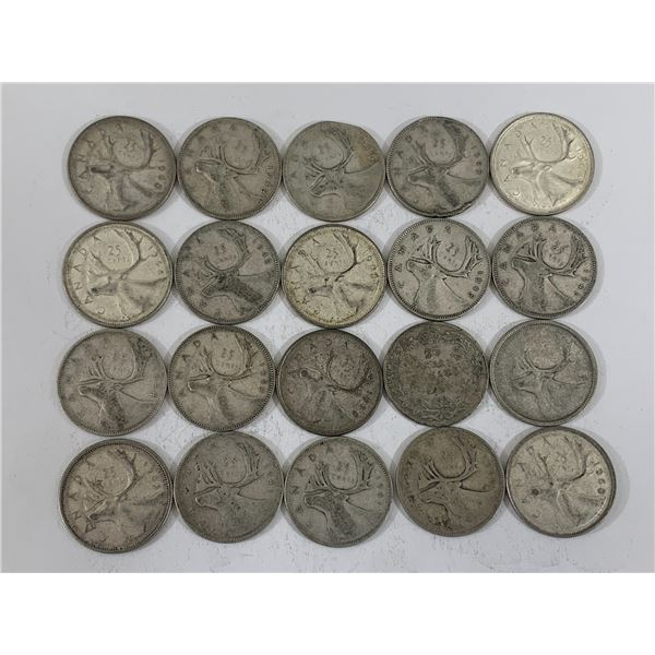 LOT OF 20 SILVER CANADIAN QUARTERS