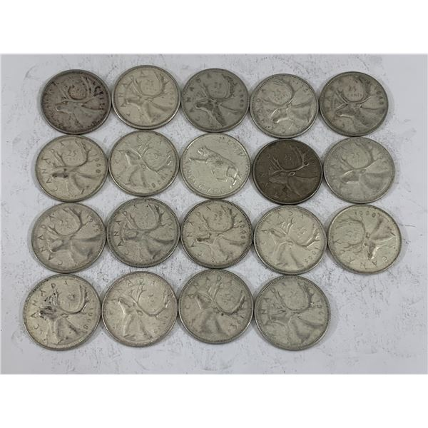 LOT OF 19 SILVER CANADIAN QUARTERS
