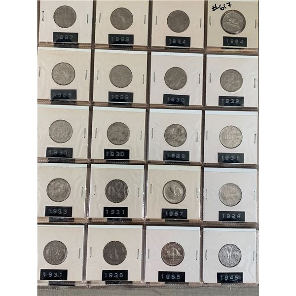 PAGE LOT OF 20 CANADIAN 5 CENT NICKELS