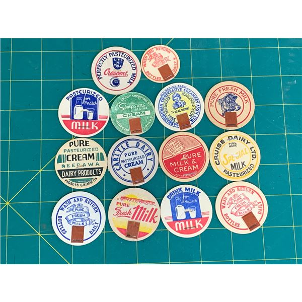 LOT OF DIFFERENT MILK BOTTLE CAPS