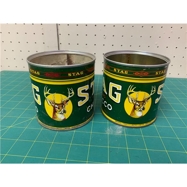 LOT OF 2 VINTAGE STAG TOBACCO TINS