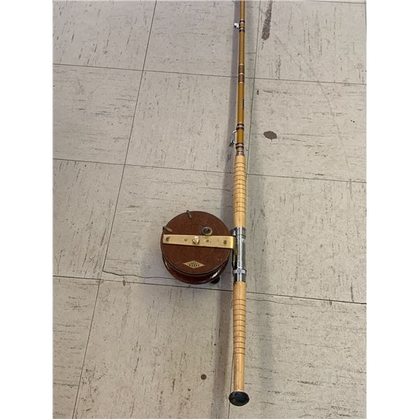 MAHOGANY AND BRASS VINTAGE PEETZ FISHING REEL AND ROD