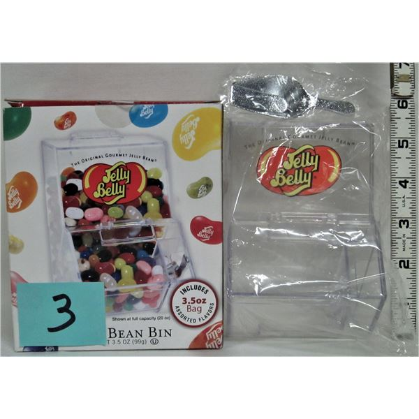 New boxed plastic mini jelly belly dispenser/scoop plus NEW mini red M&M container