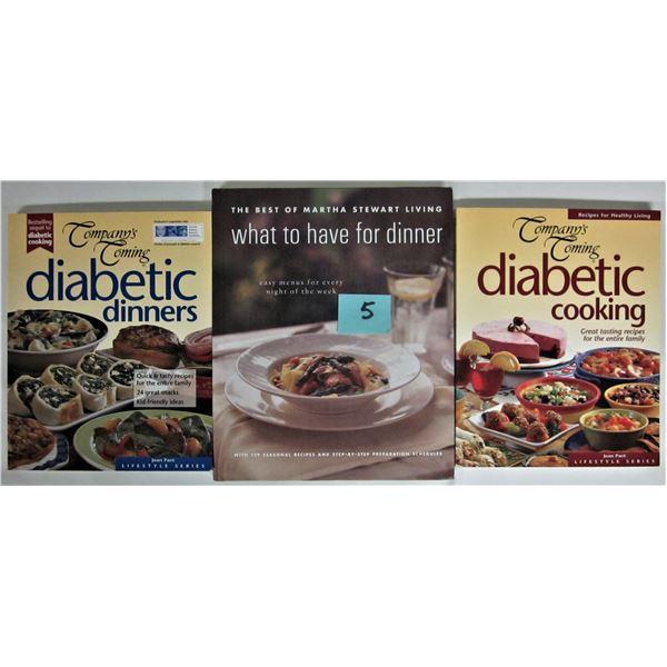 2 diabetic cook books & best Martha Stewart living book