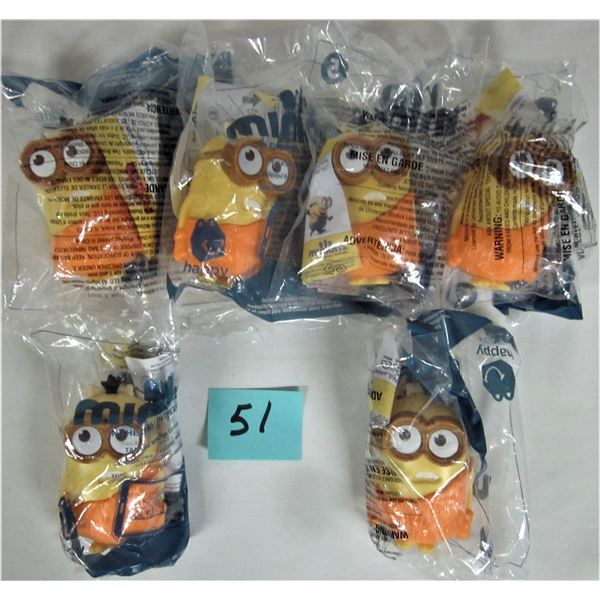 Lot of 6 new sealed 2015 McDonald's 'Cussin' minion, despicable me #5 Cave Man
