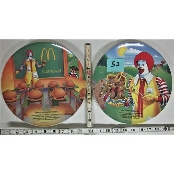 "2 new 1989 McDonald's plastic 9.5"" plates McNugget band & hamburger university"