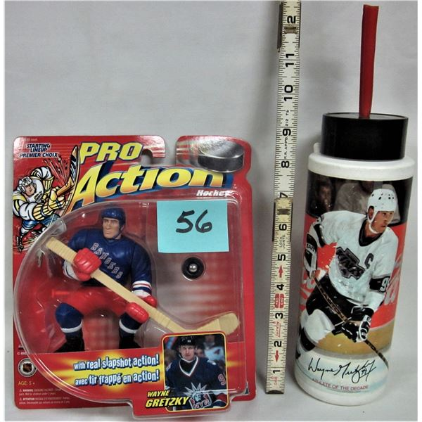 New 1996 pro action Wayne Gretzky action figure NYR sealed plus Coca-Cola LA Kings Wayne Gretzky pla