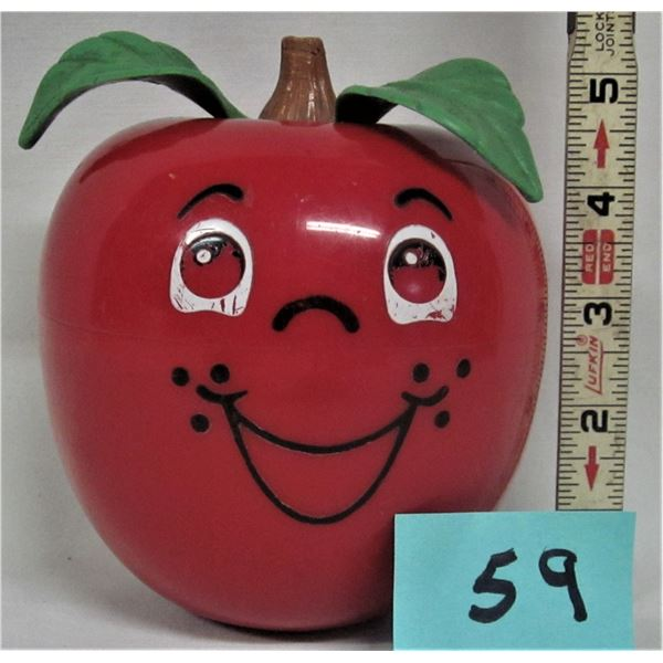 Vintage Fisher Price 1972 Happy Apple baby roly poly chime toy