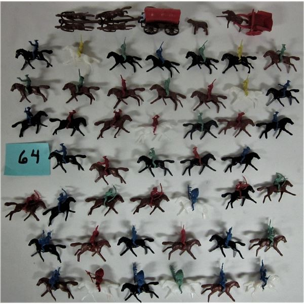Lot vintage miniature cowboys & Indians on horses
