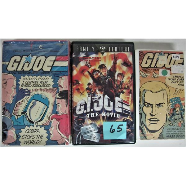 Lot 3 vintage G. I. Joe VHS cartoon tapes