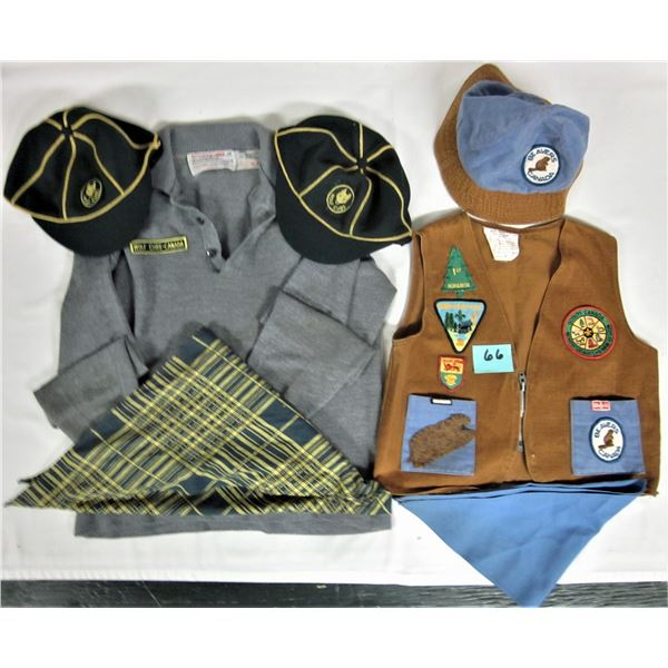 Lot of boy scouts & wolf cubs Canada uniform vest, jersey, caps, scarves