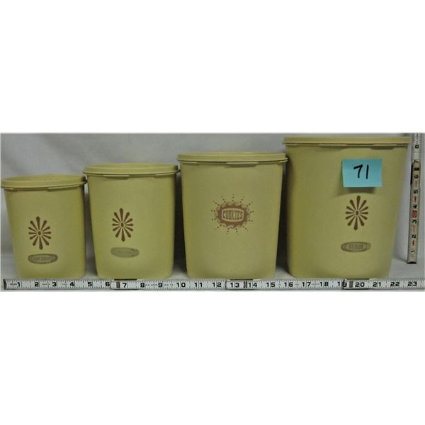 Set 4 vintage yellow rubber Tupperware Canister set