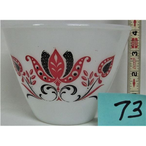 "rare 5.5"" D X 4"" H splash proof Fire King ovenware white milk glass bowl with black & red Tulip patt"