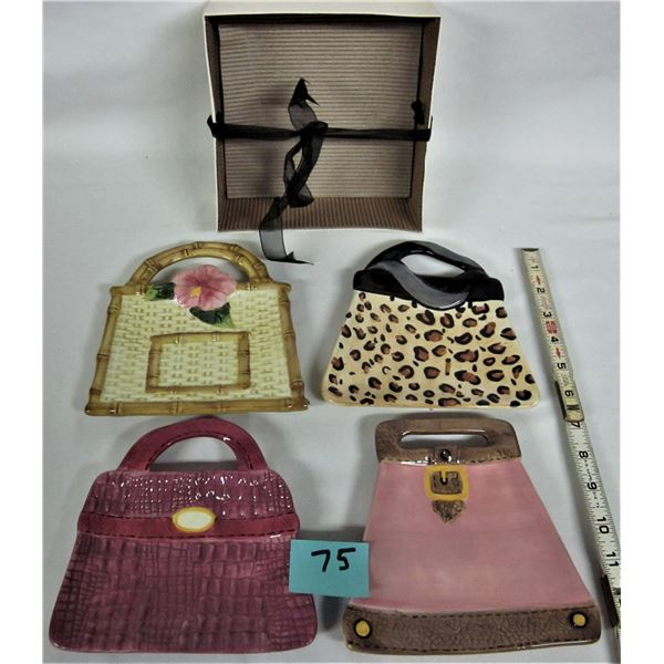 "Set f 4 ceramic purse sercing ates 6"" X 5"""