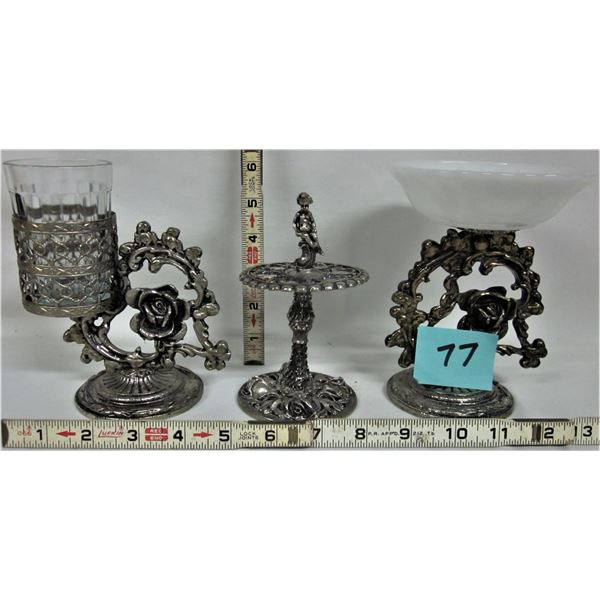 3 piece ornate brass bathroom soap dish, glass holder, tooth brush holder