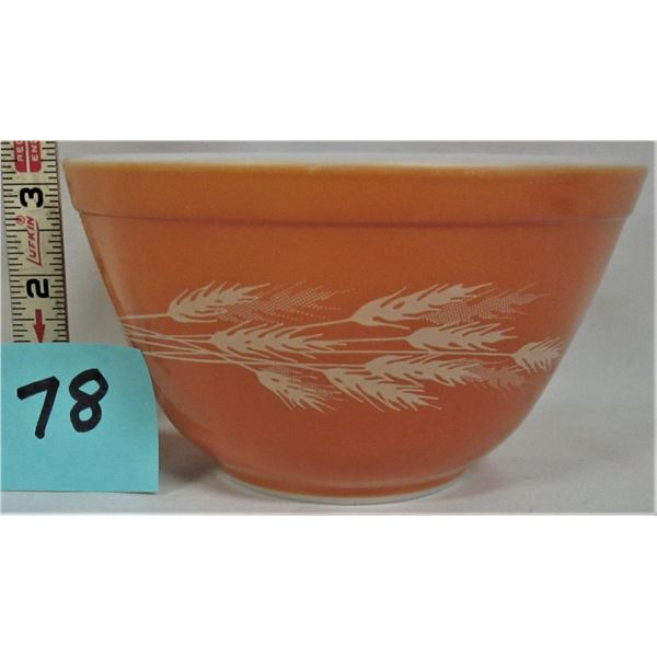 "vintage 5.5"" W X 3.24""  Pyrex burnt orange bowl with autumn wheat patterns"