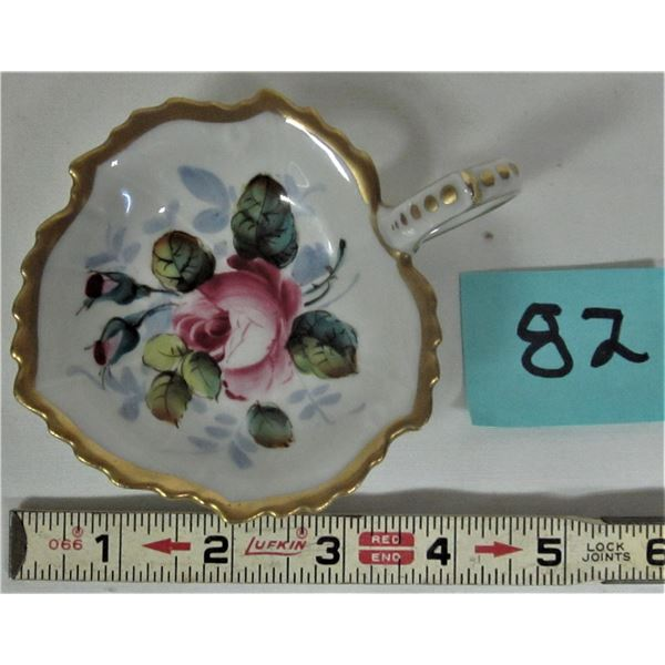 "Vintage ornate 3.5"" hand painted serving dish with finger hold porcelain marked ""Paris, France AIT c"