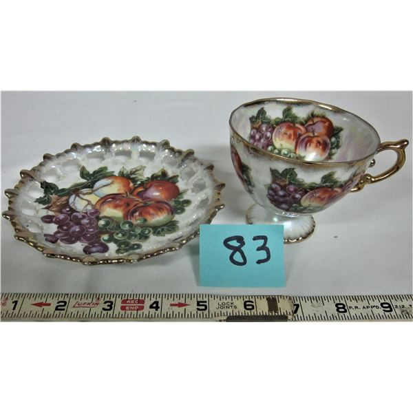 Tea cup footed & Lusterware saucer fruit basket gold trim marked Shafford hand decorated - Japan