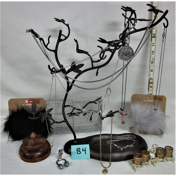 "vintage bronze? Metal 15"" X 14"" jewellery display tree with assorted costume necklaces & accessories"
